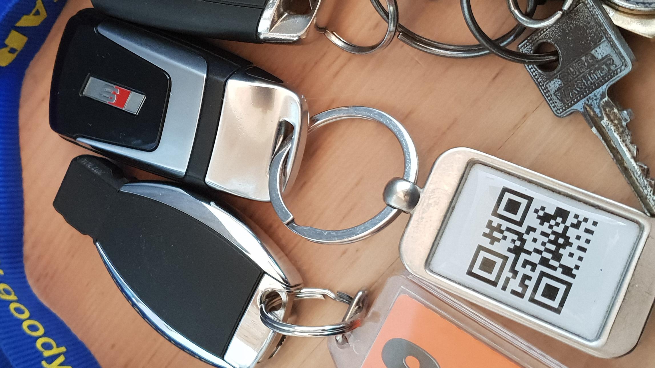 QR Code am Audi S5 Schlüssel von Audi Demand Mietwagen Talk