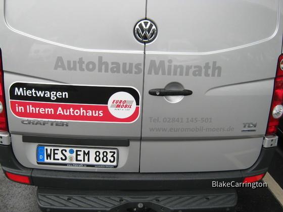 VW Crafter 2,0 TDI - lg. Radstand / Hochdach - Euromobil Autovermietung Moers