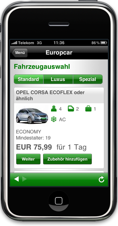 Europcar Applikation