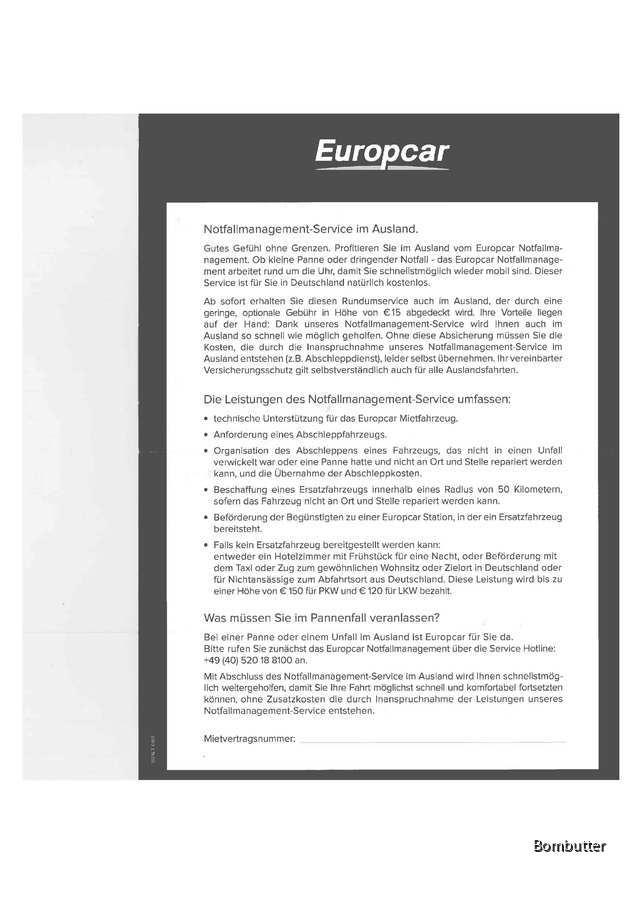 Notfallmgmt-Service Ausland Europcar