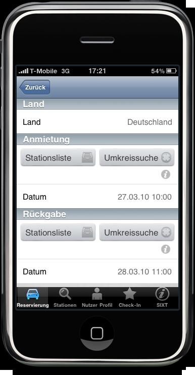 SIXT Applikation