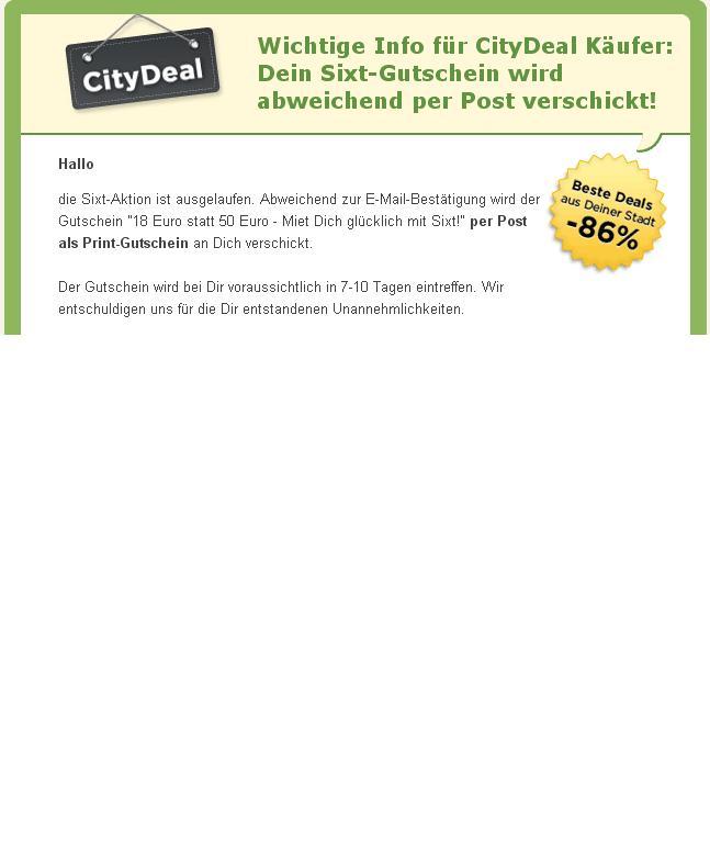 Citydeal Gutschein