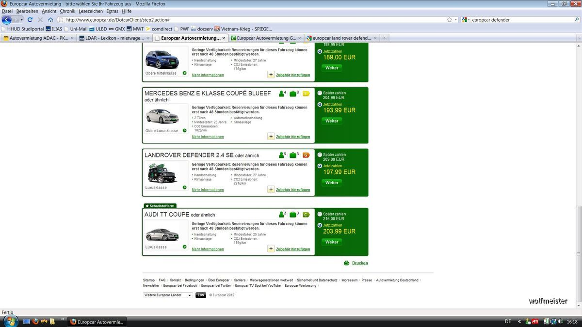 Defender bei Europcar