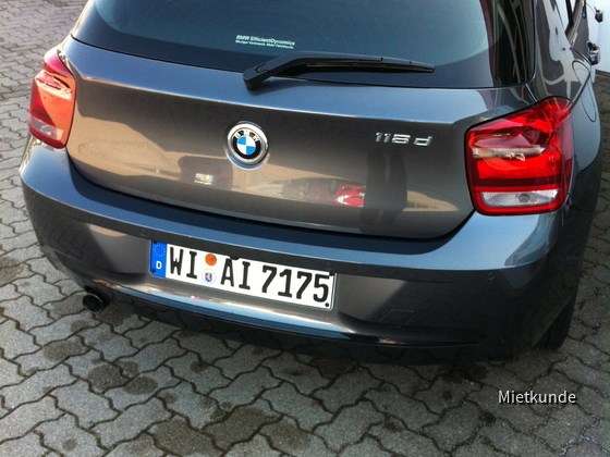 BMW 118d Sport Line 09.-12.03.2012 Avis Ludwigshafen